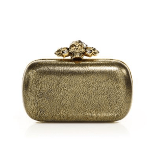 Alexander McQueen Skull Metallic Leather Box Clutch $2,095