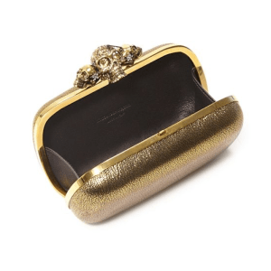 Alexander McQueen Skull Metallic Leather Box Clutch Open $2,095