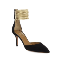 Aquazzura Hello Lover Suede Metallic D'Orsay Pumps $765