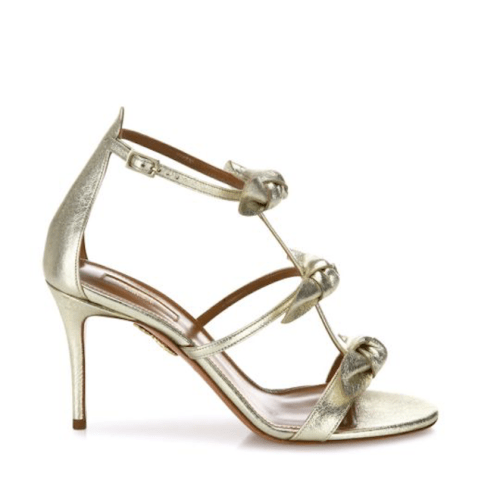 Aquazzura St. Tropez Tied Metallic Leather Sandals $750