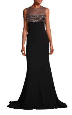 Carmen Marc Valvo Beaded Illusion Gown, $1,275