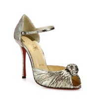 Christian Louboutin Marchavekel Knotted Metallic D'Orsay Pumps, $945