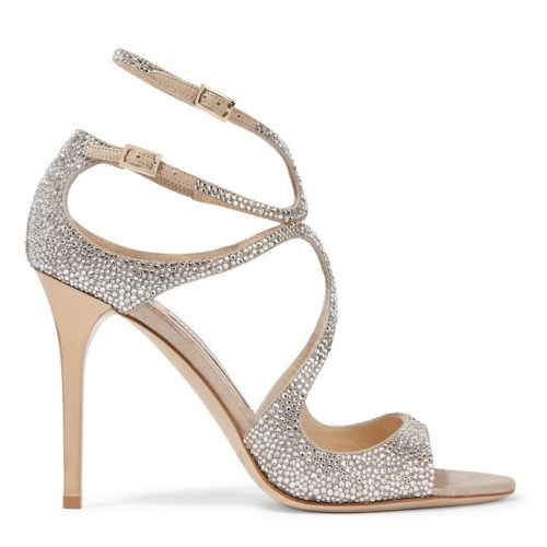 Jimmy Choo Lang Memento 100 Strappy Crystal & Suede Sandals, $2,095