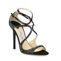 Jimmy Choo Lang Memento 100 Strappy Crystal & Suede Sandals $2,095