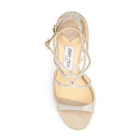 Jimmy Choo Lang Memento 100 Strappy Crystal & Suede Sandals Top $2,095