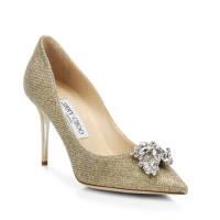 Jimmy Choo Mamey 90 Glitter & Crystal Point-Toe Pumps, $975