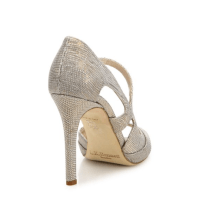 L.K. Bennett Valentina Metallic Lizard Asymmetric Sandals Back $395