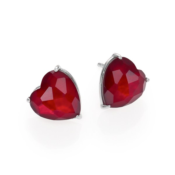 Valentines Day Gift Ideas for Her Adriana Orsini Garnet & Mother-Of-Pearl Heart Stud Earrings $80