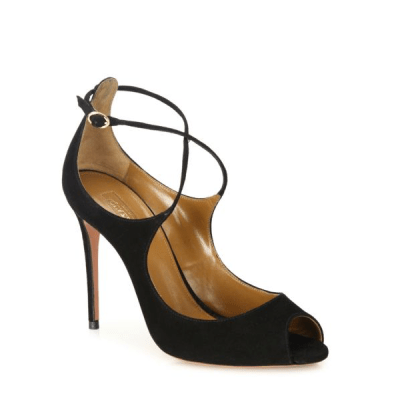 Aquazzura Zani Suede Peep-Toe Pumps $785