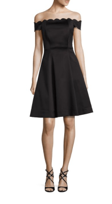 Badgley Mischka Scalloped Off-The-Shoulder Dress $495
