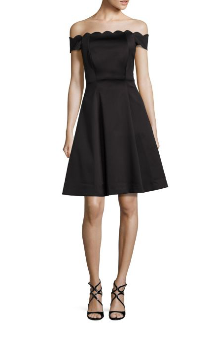 Dresses Evolve Stay the Same Badgley Mischka Scalloped Off-The-Shoulder Dress $495