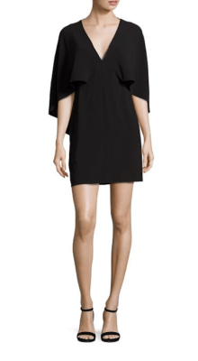 Halston Heritage Flowy Cape Sleeve Crepe Dress $295