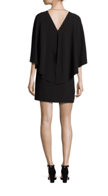 Halston Heritage Flowy Cape Sleeve Crepe Dress Back $295