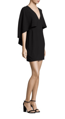 Halston Heritage Flowy Cape Sleeve Crepe Dress Side $295