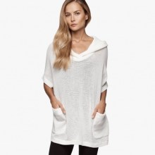 James Perse Knit Mesh Hooded Pullover White $250
