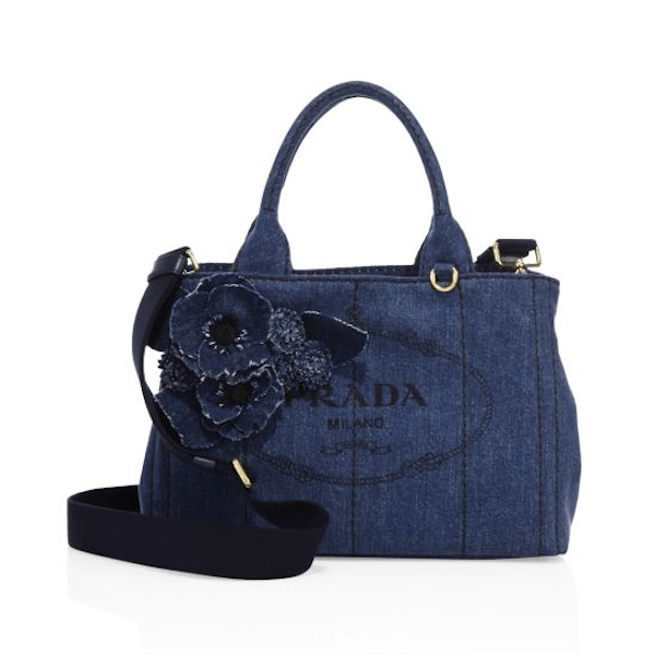 PRADA Handbags New Introductions Denim Bleu Tote