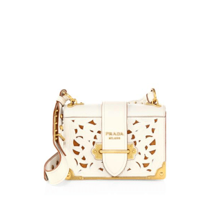 Prada Lasercut Leather Cahier Shoulder Bag $3,080