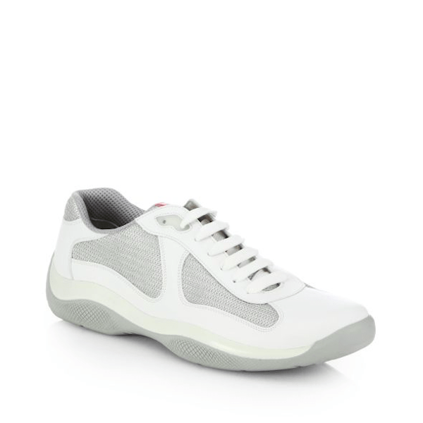 Prada Men's Fashion Sneakers Leather & Mesh White Sneakers $595