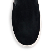 Prada Mixed-Media Leather & Suede Slip-On Sneakers Closeup $595