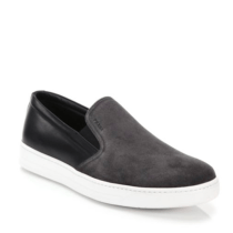Prada Mixed-Media Leather & Suede Slip-On Sneakers Dark Grey $595