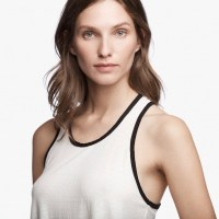James Perse Contrast Ringer Tank Ice Cream:Black Closeup $95