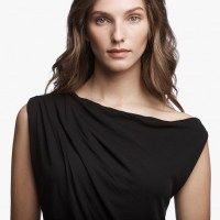 James Perse One Shoulder Jersey Dress Black Closeup $245