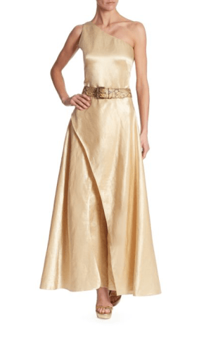 Ralph Lauren Collection Catrice Metallic Jumpsuit $2,650; Snakeskin Leather Belt $595