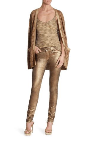 Ralph Lauren Collection Long Sleeve Boyfriend Cardigan $1,650; Sleevless Crochet Tank $890; Cigarette Metallic Jeans $990