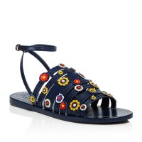 Tory Burch Marguerite Floral Strappy Sandal Navy Sea $275