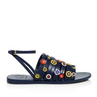 Tory Burch Marguerite Floral Strappy Sandal Navy Sea Side $275