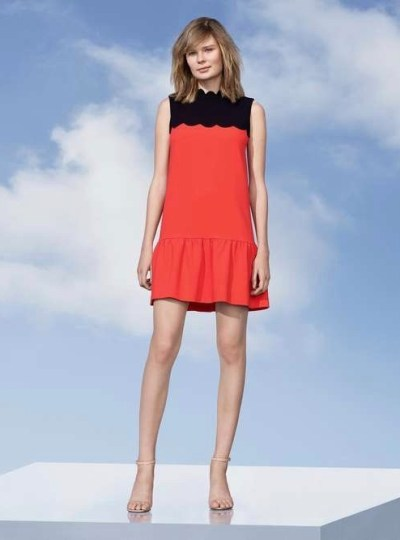 Victoria Beckham Drop Waist Scallop Trim Dress $40