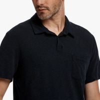 James Perse Contrast Stitch Polo Deep Closeup $135