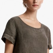 James Perse Linen Tee Dress Closeup Platoon Pigment $195