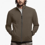 James Perse Performance Jersey Zip-Up Jacket Dark Olive:Black $350