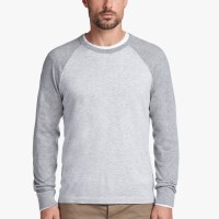 James Perse Cotton Baseball Raglan Sweater Platinum Heather Grey $175