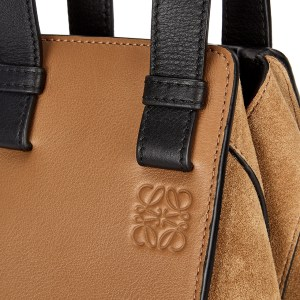 LOEWE Hammock Camel Leather and Suede Tote Closeup