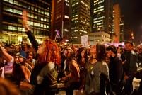 SP, 2016. Coletivos feministas fecham a Av. Paulista em protesto contra estupro coletivo praticado contra uma menor de idade. no Rio de Janeiro, e contra o governo golpista de Michel Temer, notoriamente misógino e anti-feminista.