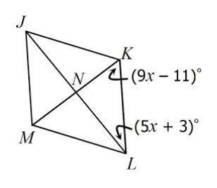Rhombus JKLM is shown below. Find m∠KLM. A.36°degree B.38