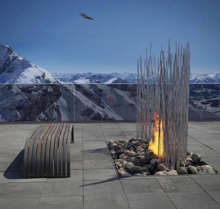 fuego con vistas a la montaña