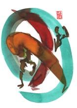 Encres : Capoeira – 425 [ #capoeira #watercolor #illustration] Encre sur papier 300gr / Ink on paper 300gr 17 x 24 cm