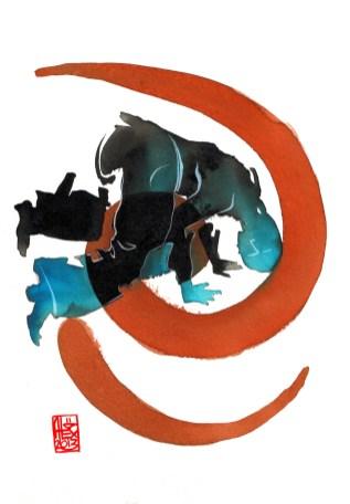 Encres : Capoeira – 431 [ #capoeira #watercolor #illustration] Encre sur papier 300gr / Ink on paper 300gr 17 x 24 cm