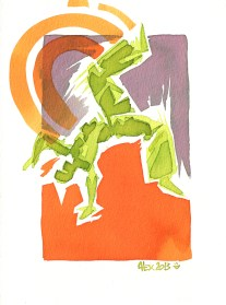 Encres : Capoeira – 438 [ #capoeira #watercolor #illustration] Encre sur papier 300gr / Ink on paper 300gr 14 x 19 cm