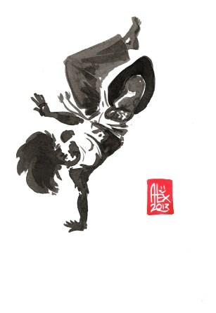 Encres : Capoeira – 445 [ #capoeira #watercolor #illustration] Encre sur papier 300gr / Ink on paper 300gr 17 x 24 cm / 6.7″ x 9.4″