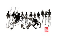 Encres : Capoeira – 475 [ #capoeira #watercolor #illustration] Encre sur papier 190gr / Ink on paper 190gr 21 x 29.7 cm / 8.3 x 11.7 in