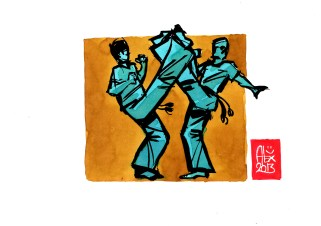 Encres : Capoeira – 506 [ #capoeira #watercolor #illustration] Encre sur papier 190gr / Ink on paper 190gr 14.8 x 21 cm / 5.8 x 8.3 in