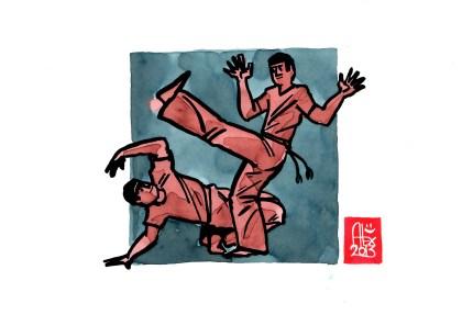 Encres : Capoeira – 509 [ #capoeira #watercolor #illustration] Encre sur papier 190gr / Ink on paper 190gr 14.8 x 21 cm / 5.8 x 8.3 in
