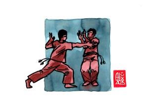 Encres : Capoeira – 514 [ #capoeira #watercolor #illustration] Encre sur papier 190gr / Ink on paper 190gr 14.8 x 21 cm / 5.8 x 8.3 in