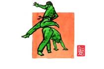 Encres : Capoeira – 524 [ #capoeira #watercolor #illustration] Encre sur papier 190gr / Ink on paper 190gr 14.8 x 21 cm / 5.8 x 8.3 in