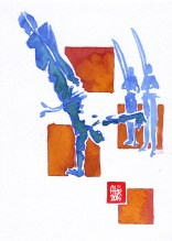 Encres : Capoeira – 564 [ #capoeira #watercolor #illustration] aquarelle sur papier 300gr / watercolor on paper 300gr 18 x 25 cm / 7.1 x 9.8 in