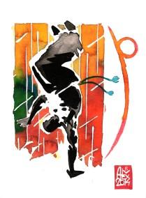 Encres : Capoeira – 582 [ #capoeira #watercolor #illustration] aquarelle sur papier 300gr / watercolor on paper 300gr 15 x 20 cm / 5.9 x 7.9 in